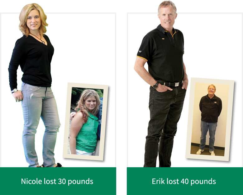 Nicole lost 30 pounds - Erik lost 40 pounds